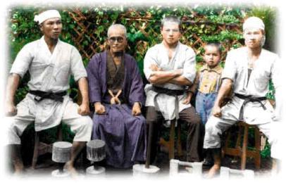 JOEN NAKAZATO (first to the left) & GRAND MASTER CHOTOKU KYAN